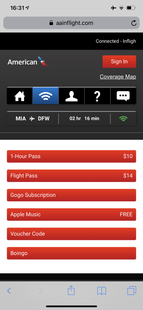 American Airlines WiFi