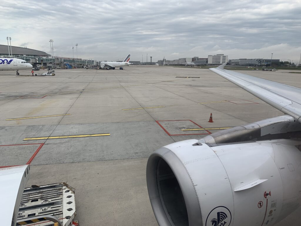 Wing view onboard Air France A320