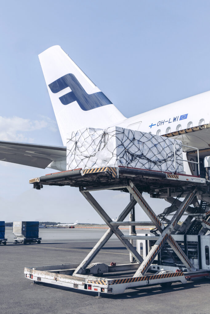 Cargo being loaded into an A350
