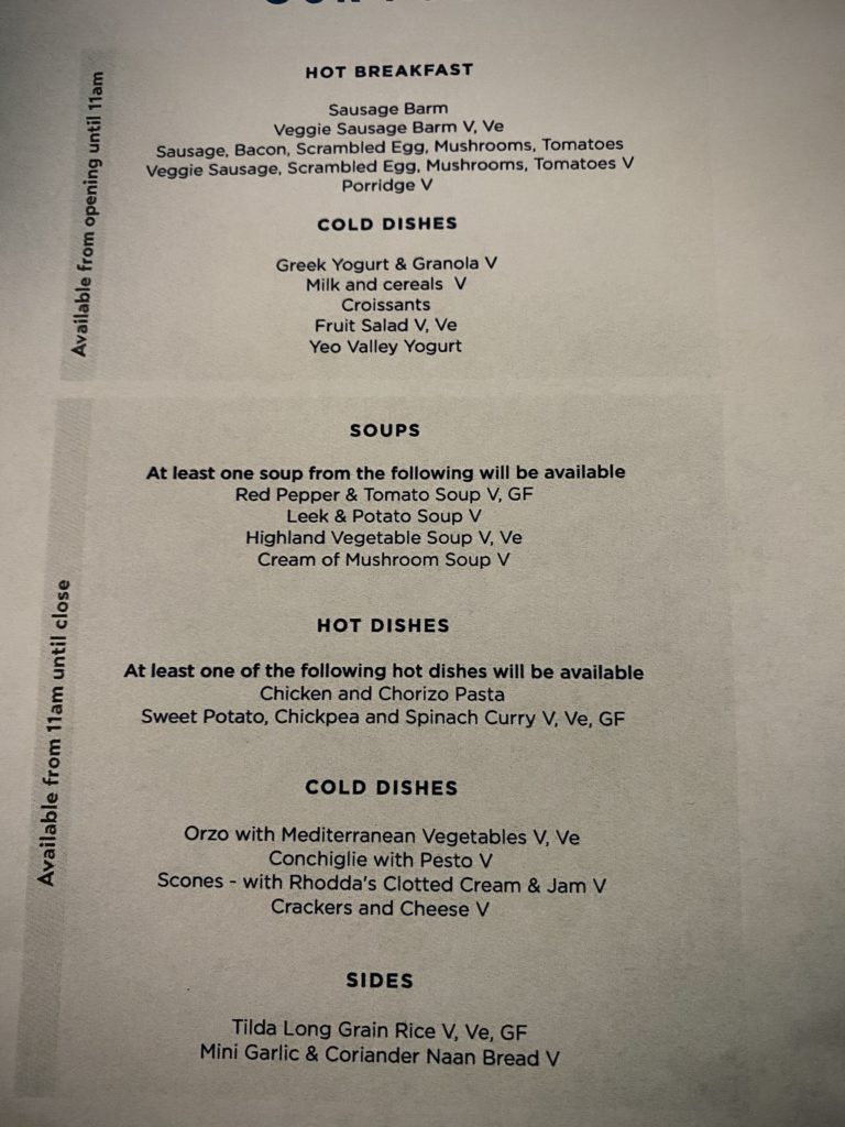 Club Aspire Lounge menu