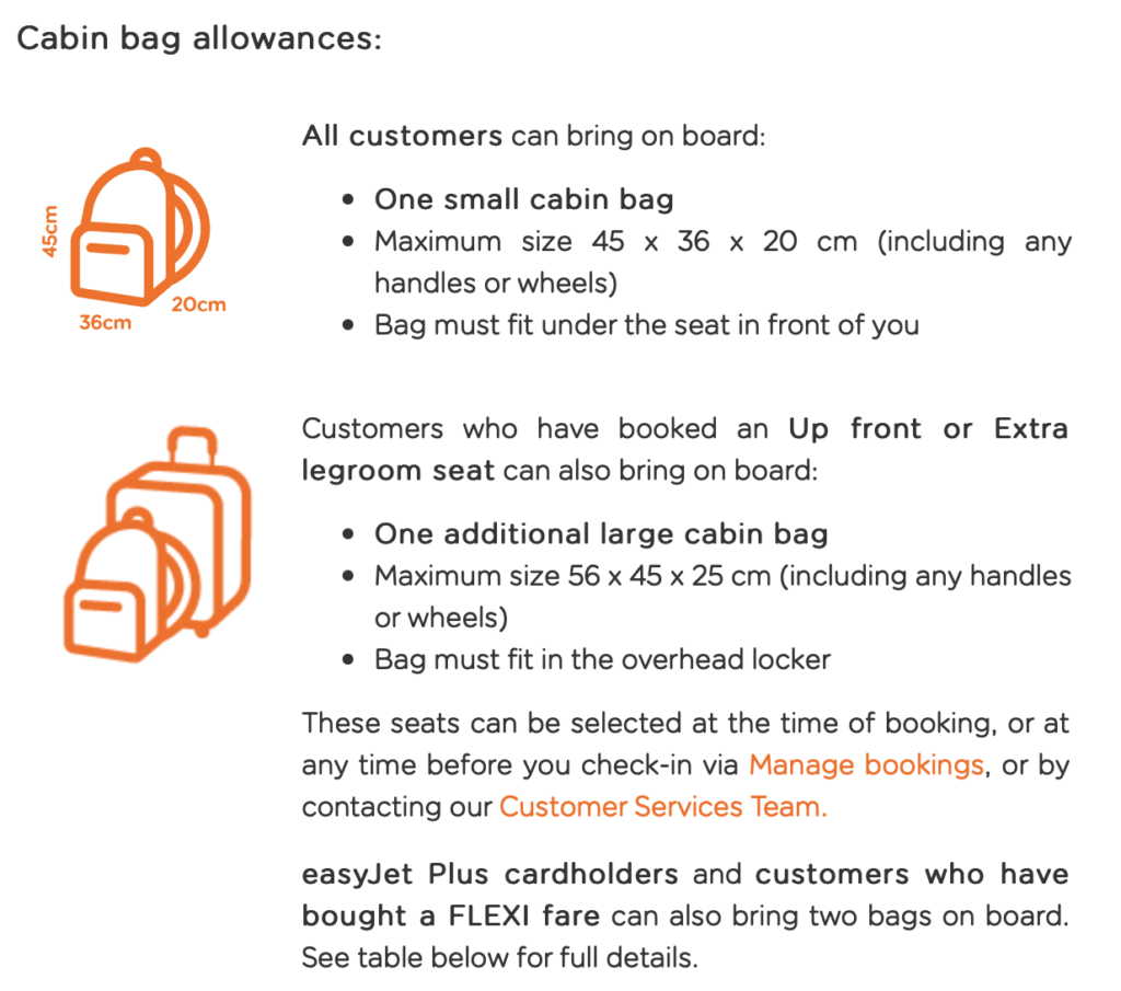 EasyJet cabin baggage policy